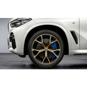 BMW Kompletträder M Y-Speiche 741 bicolor (night gold / glanzgedreht) 21 Zoll X5 G05 X6 G06 RDCi (Mischbereifung)