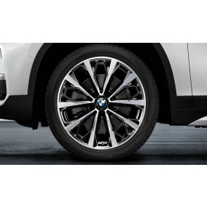 BMW Kompletträder V-Speiche 573 bicolor (jet black uni / glanzgedreht) 19 Zoll X1 F48 X2 F39 RDCi