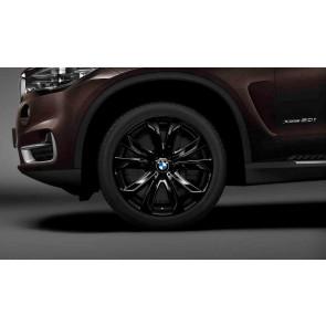 BMW Kompletträder Sternspeiche 491 jet black uni 20 Zoll X5 F15 X6 F16 RDCi (Mischbereifung)