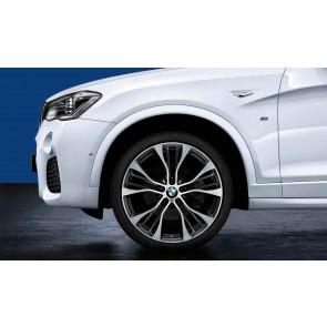 BMW Alufelge M Performance Doppelspeiche 599 bicolor (ferricgrey glanzgedreht) 10 J x 21 ET 51 21 Zoll Vorderachse X3 F25 X4 F26