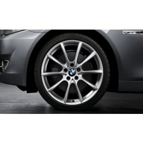 BMW Kompletträder V-Speiche 281 reflexsilber 18 Zoll 5er F10 6er F06 F12 F13 RDC LC (Mischbereifung)