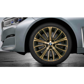 BMW Kompletträder V-Speiche 628 bicolor (night gold / glanzgedreht) 20 Zoll 6er G32 7er G11 G12 RDCi (Mischbereifung)
