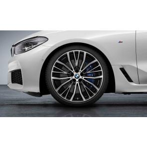 BMW Kompletträder V-Speiche 687 bicolor (jet black uni / glanzgedreht) 21 Zoll 6er G32 7er G11 G12 (Mischbereifung)