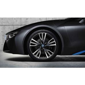 BMW Alufelge W-Speiche 470 bicolor (schwarz / glanzgedreht) 8,5J x 20 ET 50 Hinterachse linke Fahrzeugseite i8