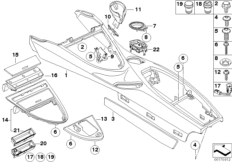 Mittelkonsole / Träger / Verkleidungen