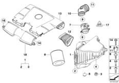Ansauggeräuschdämpfer / Filtereinsatz / HFM