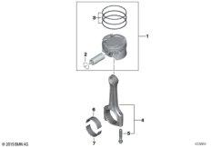 Kurbeltrieb-Pleuelstange mit Kolben