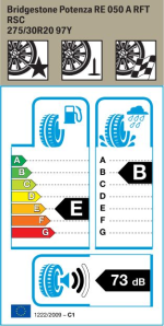 BMW Reifen Bridgestone Potenza RE 050 A RFT 275-30 R20 S