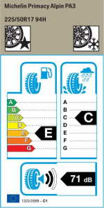 BMW Reifen Michelin Primacy Alpin PA3 225-50 R17 W